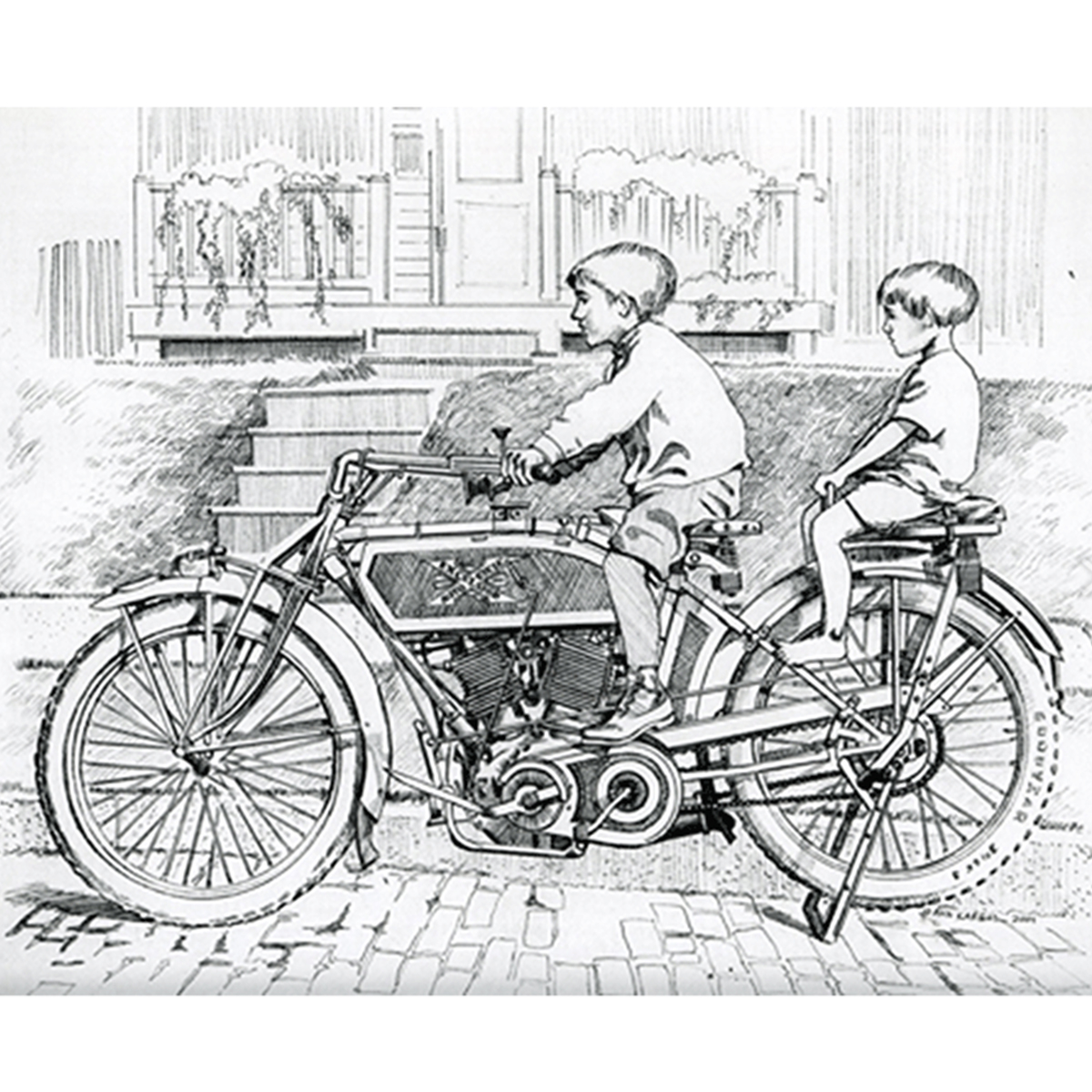 moto art. 1-boys-on-excelsior-pencil moto art