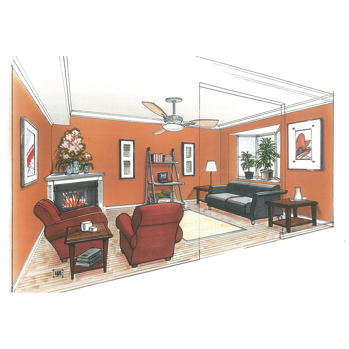 living-room-line-with-color